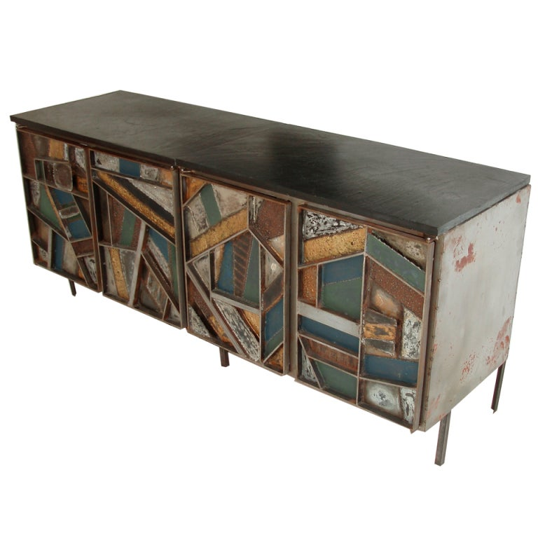 Four Door Cabinet in the Manner of Paul Evans at 1stdibs
