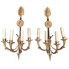 Pair of Early 19th Century Directoire Four-Light Sconces
