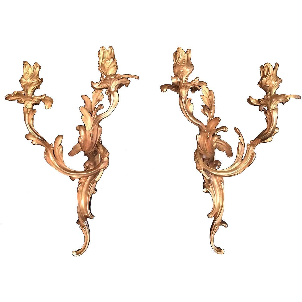 Pair of Louis XV Bronze Doré French Two-Light Appliques Sconces