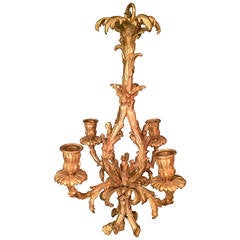 Louis XV Style Bronze Doré French Four-Light Chandelier