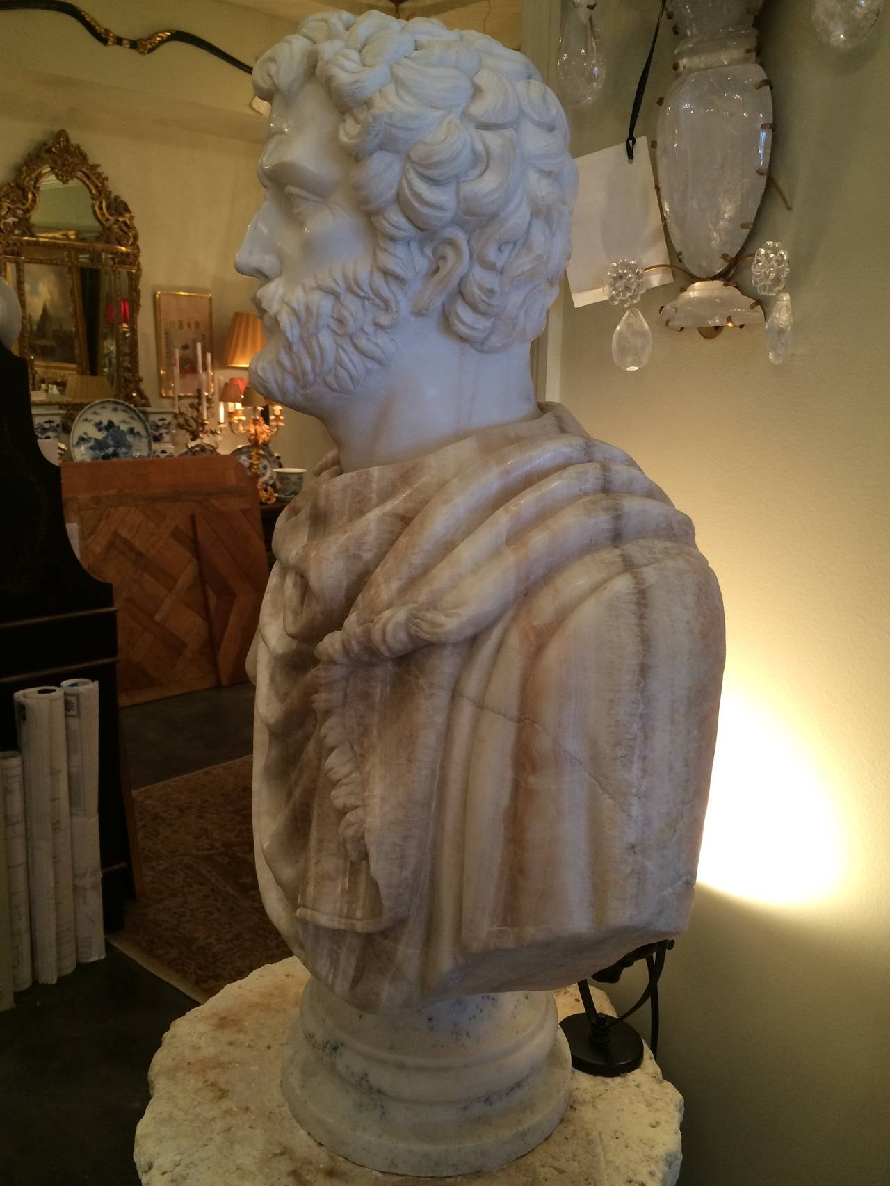 Carrera Marble and Honey Onyx Bust of Clasical Roman. 20th century with impressive detail. Very handsome features with stunning craftsmanship. PROVENANCE: Rhode Island estate