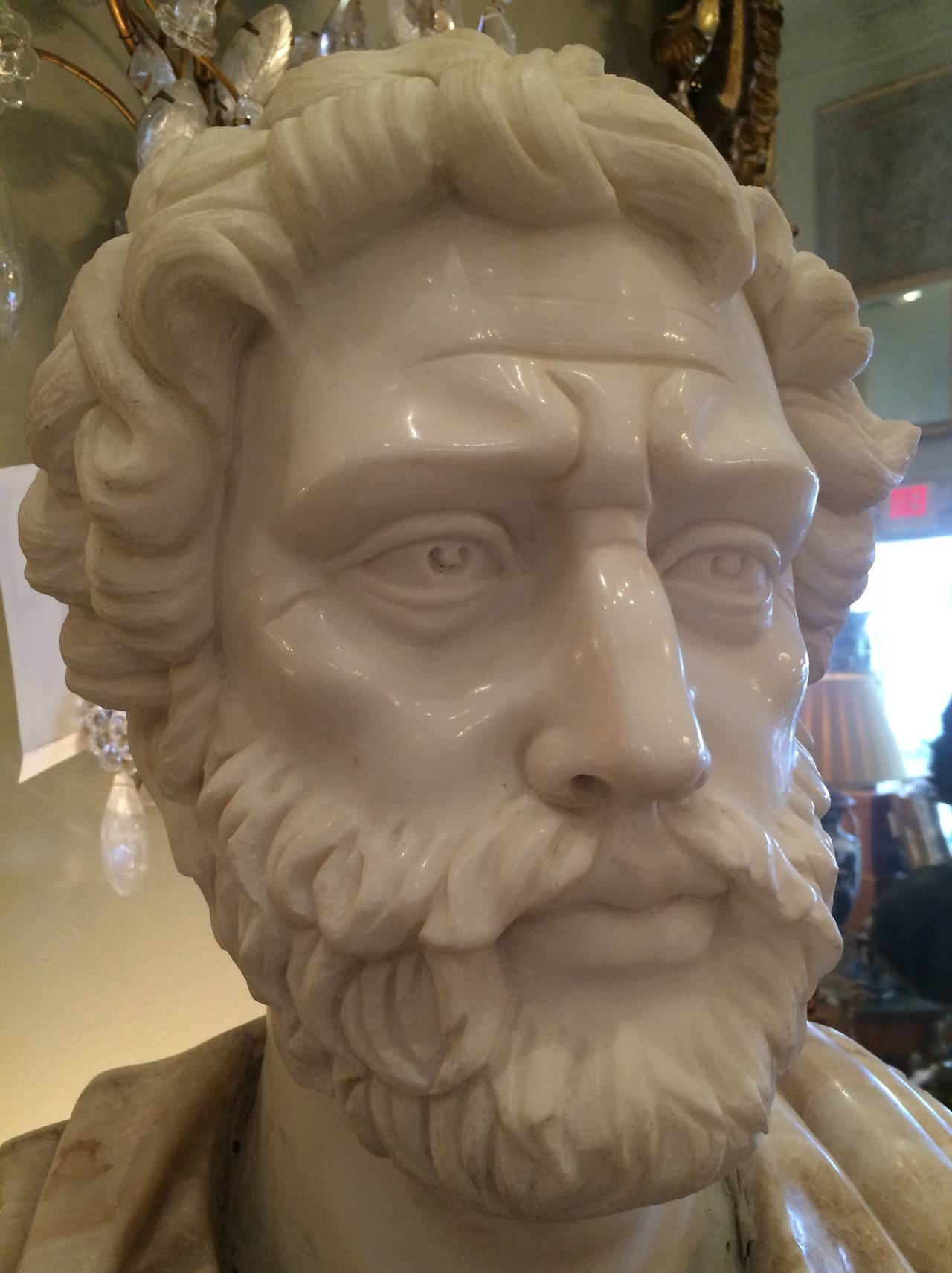 Classical Greek Bust of Carrera Marble and Honey Onyx For Sale