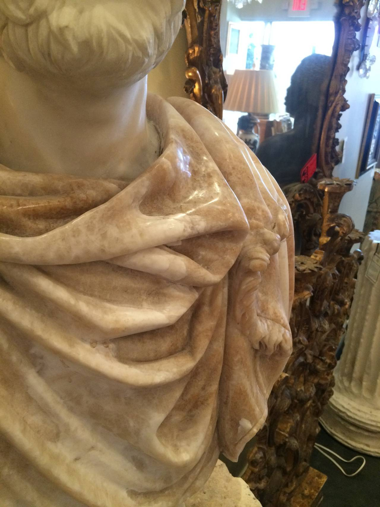 Bust of Carrera Marble and Honey Onyx In Good Condition For Sale In Palm Beach, FL