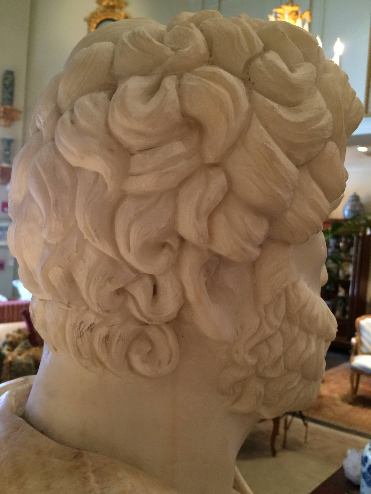 European Bust of Carrera Marble and Honey Onyx For Sale