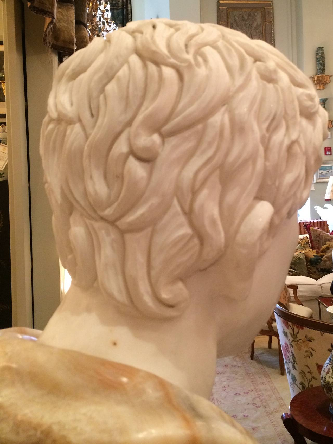 A Marble In A Cup Of Honey : Bust of carrera marble and honey onyx for sale at stdibs