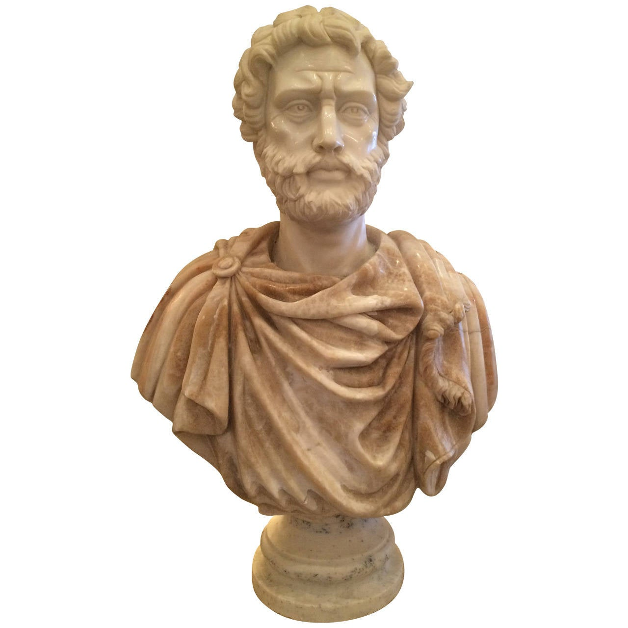 Bust of Carrera Marble and Honey Onyx For Sale