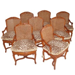 Set of Eight Louis XV Style Armchairs