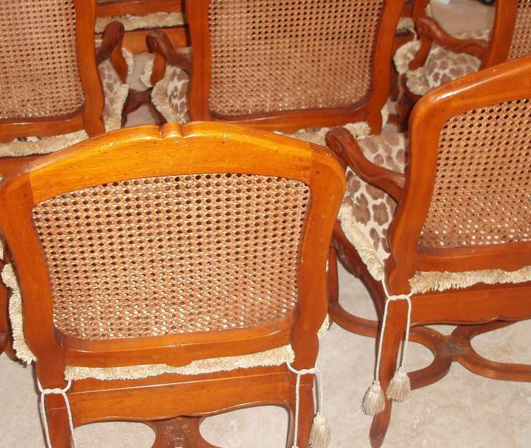 Wood Set of Eight Louis XV Style Armchairs For Sale