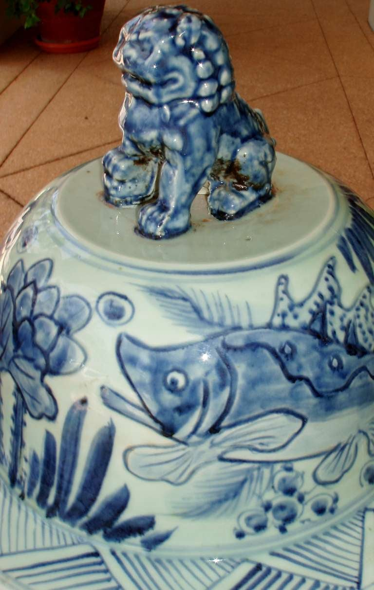 Pair Of Tall Blue And White Chinese Porcelain Lidded Jars For Sale At