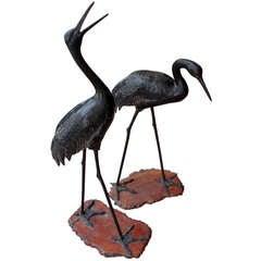 Sculptural Pair of Japanese Bronze Cranes