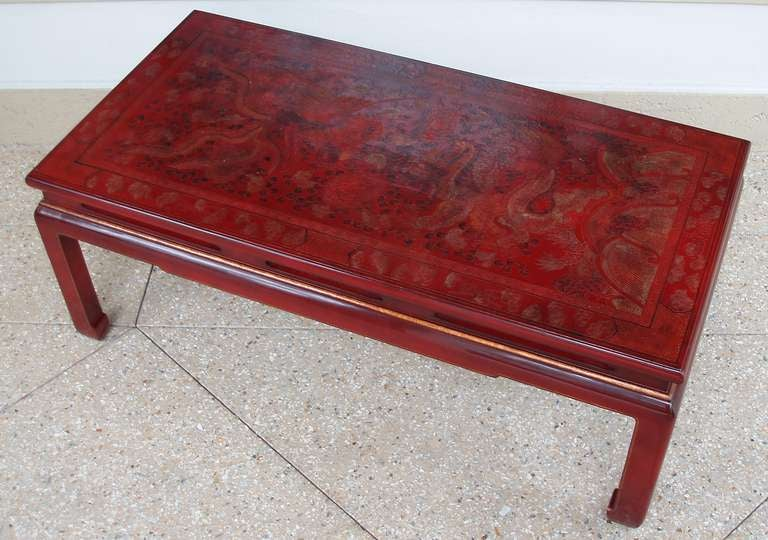Beautiful Red Lacquer Chinoiserie Coffee Table At 1stdibs