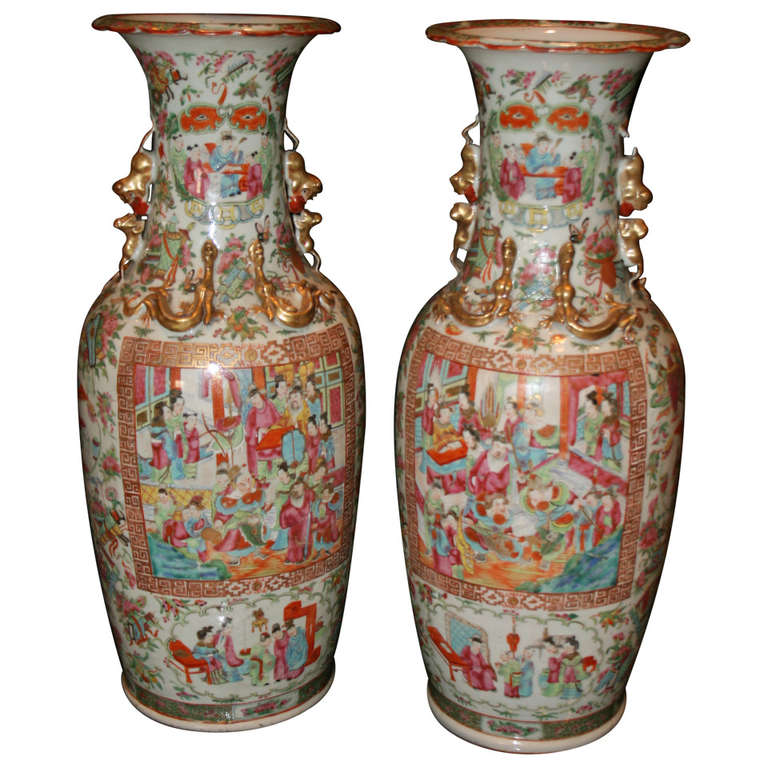 Colorful Large Pair Of Famille Rose Baluster Vases For Sale At 1stdibs