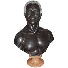 Handsome Hand-Sculpted Nubian Bust