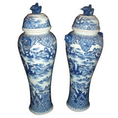 Pair of Tall Blue & White Chinese Covered Vases