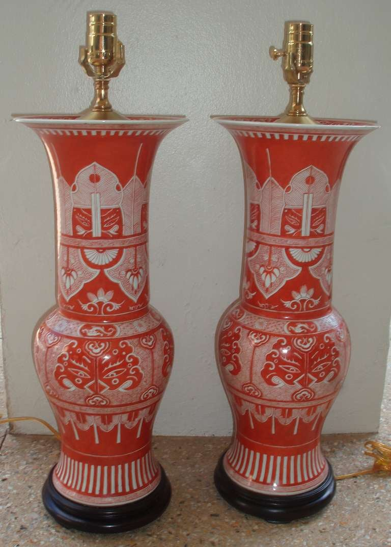 Pair Of Iron Red And White Chinese Export Yen Yen Vases As Lamps 2