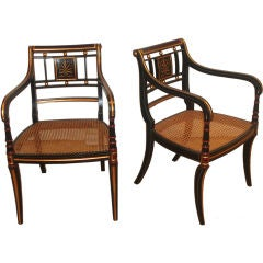 Pair of Ebonised  Regency Style Armchairs