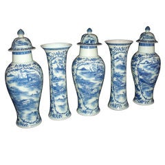 Garniture of Blue and White Chinese Porcelain