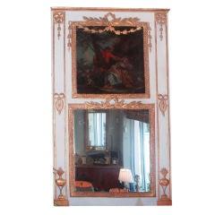Louis XVI Painted and Parcel-Gilt Trumeau