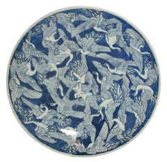 Large Blue & White Chinese Porcelain Charger