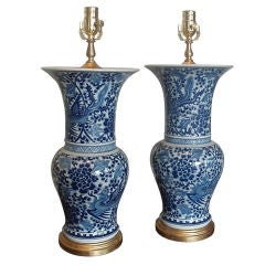 Pair of Blue & White Chinese Trumpet Lamps