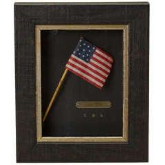 """1876 """"Centennial Celebration"""" Thirteen-Star Flag Waver on Original Wooden Stick"""