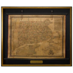 1854 Map of Massachusetts, Connecticut and Rhode Island, Antique Wall Map