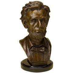 Abraham Lincoln Solid Bronze Bust on Marble Base