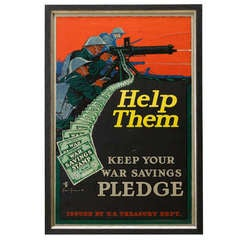 """Help Them, Keep Your War Savings Pledge"" Vintage WWI Poster"