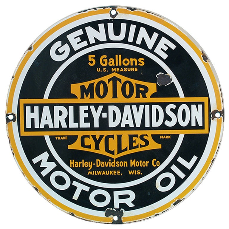 Vintage Harley Davidson Genuine Motor Oil Porcelain Sign