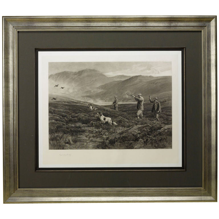 """""""On the Moors"""" or """"Dogging"""" Signed by Heywood Hardy, Antique Print, 1894"""