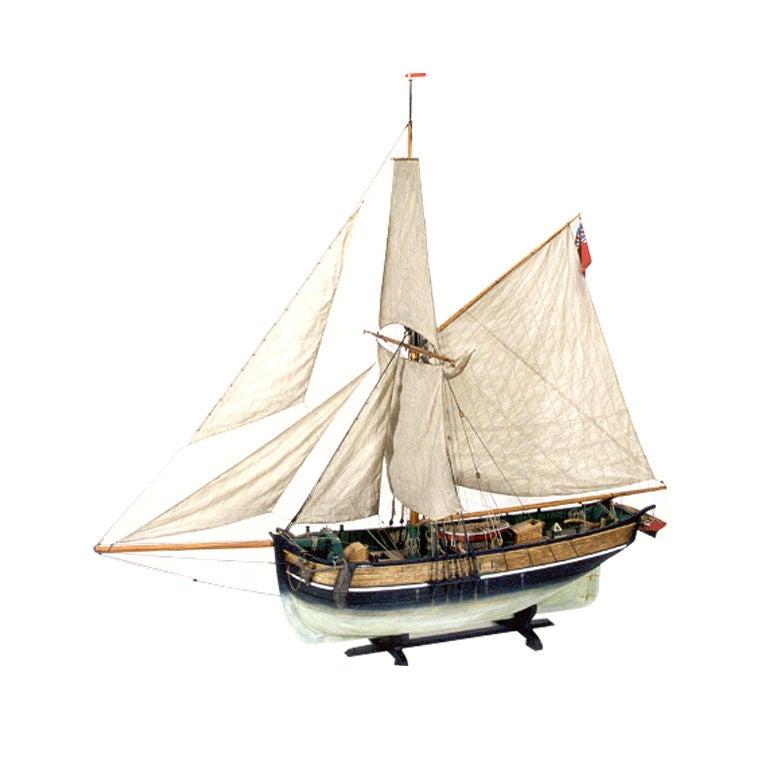 """Model Ship """"Hero,"""" by Kenneth Britten, in Freestanding Glass Case"""