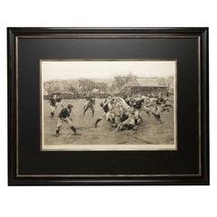 """A Football Match, Scotland v. England"" Antique Engraving, Proof Edition of 100"