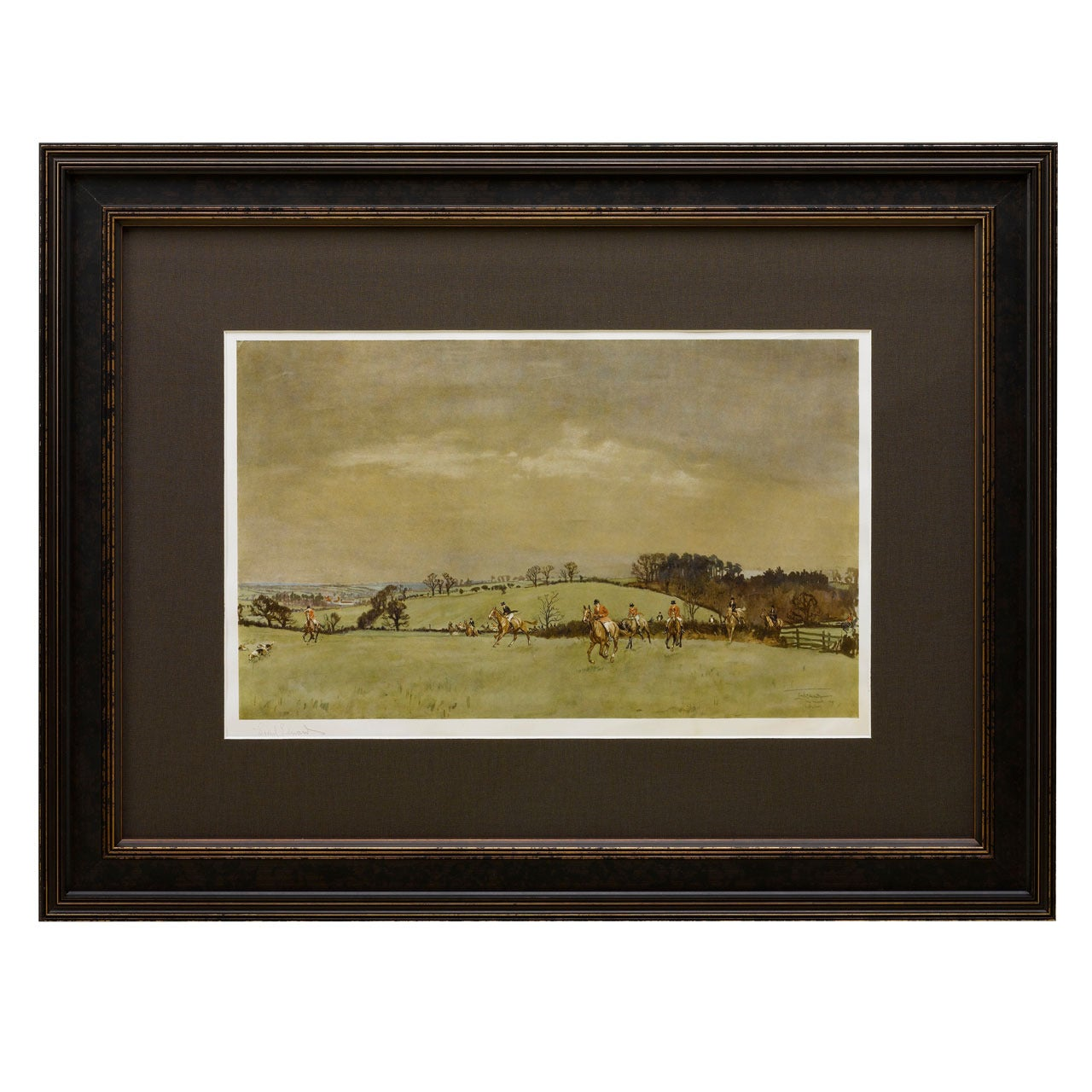 """""""The Meynell at Bantley Carr"""" Signed by Lionel Edwards, Fox Hunting Print, 1937"""
