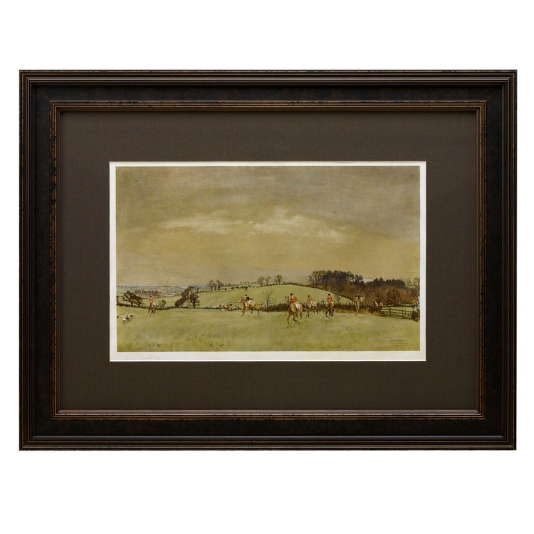 """""""The Meynell at Bantley Carr"""" Signed by Lionel Edwards, Fox Hunting Print, 1937 For Sale"""
