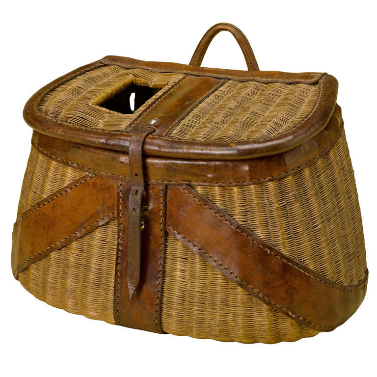 French fly fishing wicker and leather creel at 1stdibs for Fishing creel basket