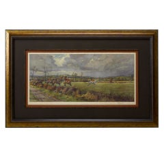 """""""The Bicester & Warden Hill,"""" Original Signed Fox Hunting Print"""