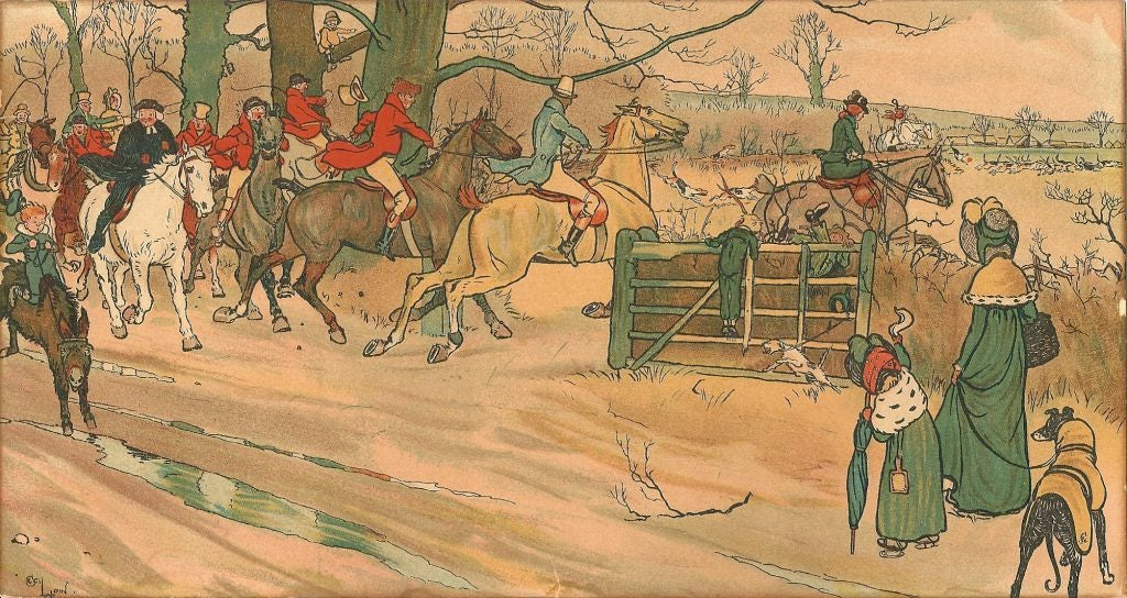 English Cecil Aldin Set of Five First Edition Prints of the Fallowfield Hunt Club