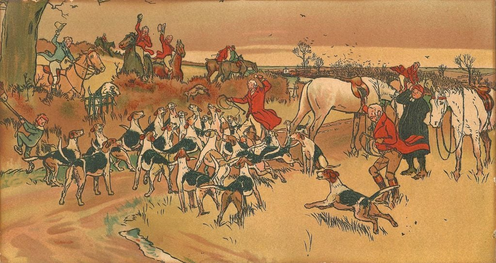 Cecil Aldin Set of Five First Edition Prints of the Fallowfield Hunt Club 1