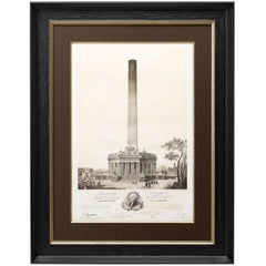 Design of the Washington National Monument, Antique First Edition Print, 1846