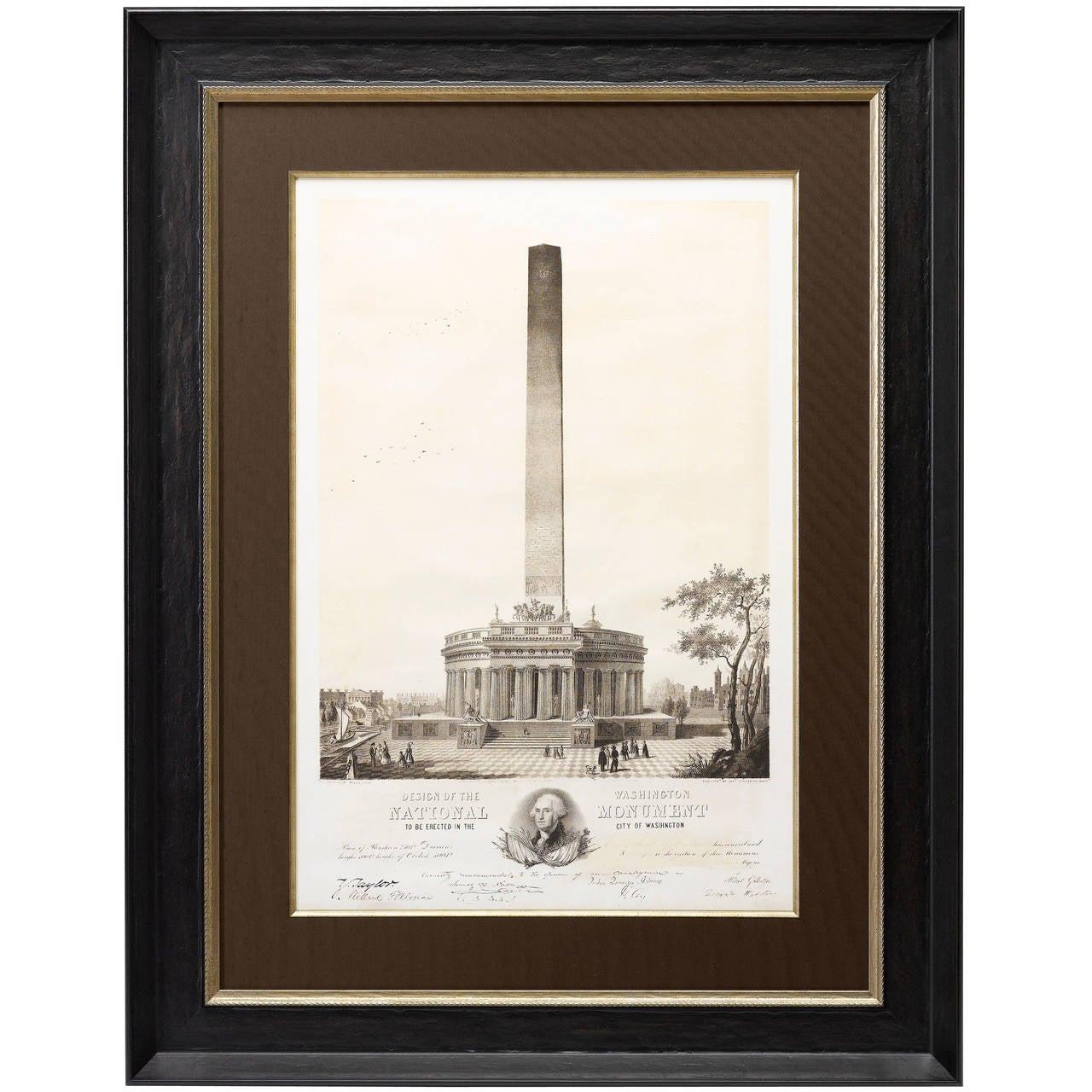 Design of the Washington National Monument, First Edition Print, circa 1846