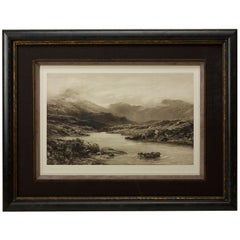 """Salmon Fishing,"" Signed Proof by Douglas Adams, Antique Limited Print, 1892"