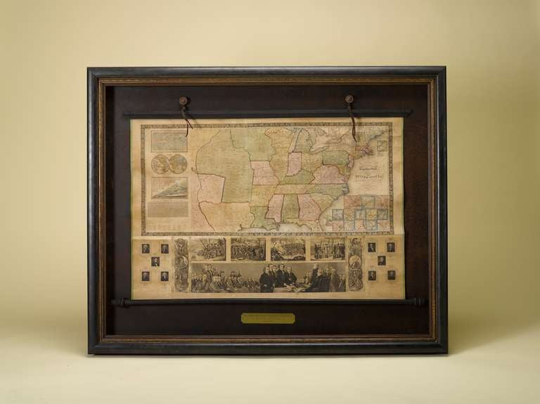 This is Phelps and Ensign's 1844 travellers guide map of the United States, containing theroads, distances, steam boat and canal routes. Published in New York by T. & E. H. Ensign, 1844. This wall map is hand-colored and mounted on linen, with