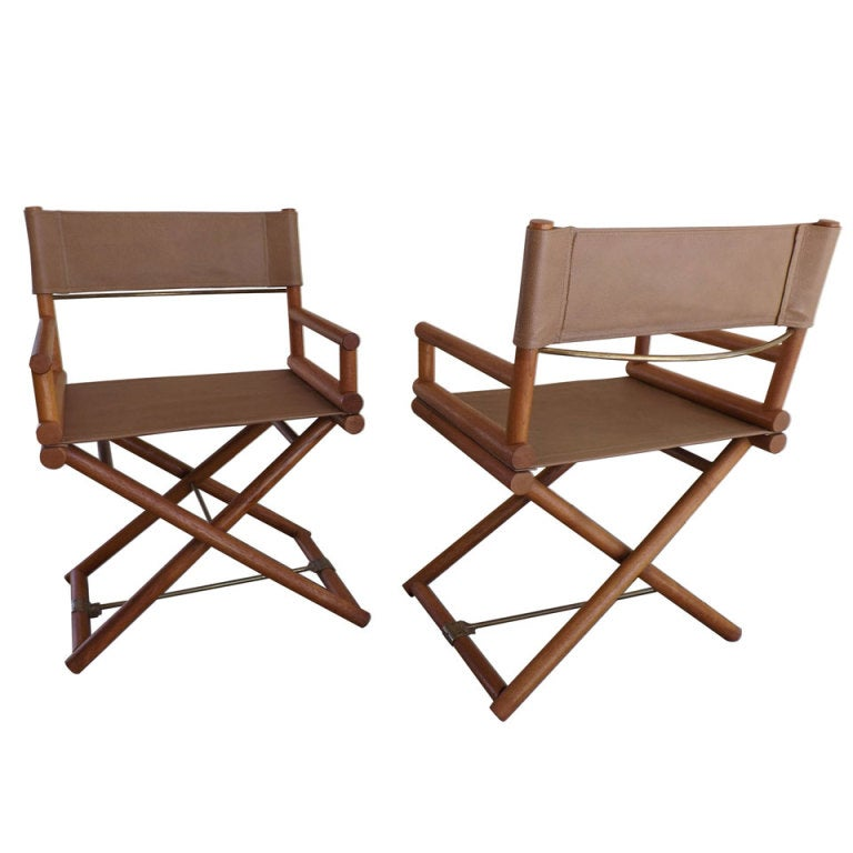 Pair of McGuire Directors Chairs at 1stdibs