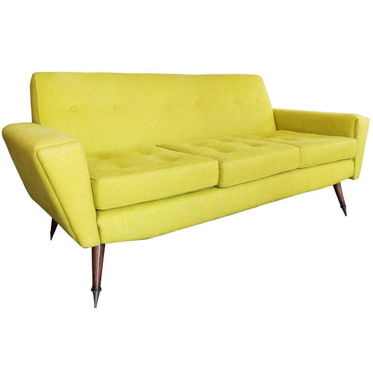 chartreuse sofa in the manner of gio ponti at 1stdibs