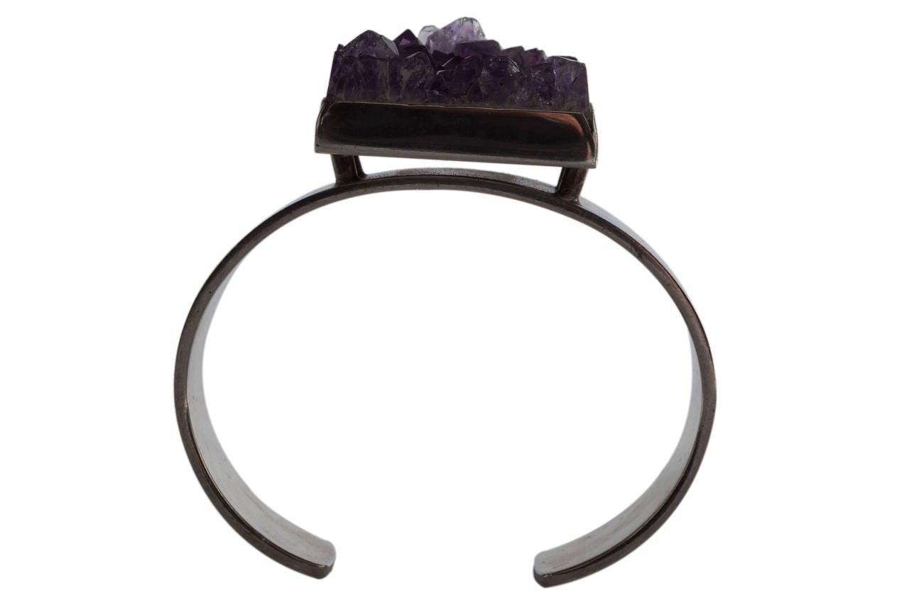 Danish Sterling Silver and Amethyst Bracelet by Bent Knudsen For Sale