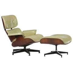 Original Cream Leather And Rosewood Eames 670 Lounge And Ottoman