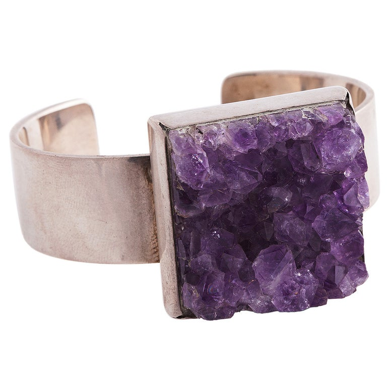 Sterling Silver and Amethyst Bracelet by Bent Knudsen For Sale