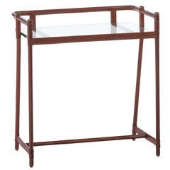 Jacques Adnet Stitched Leather Side Table