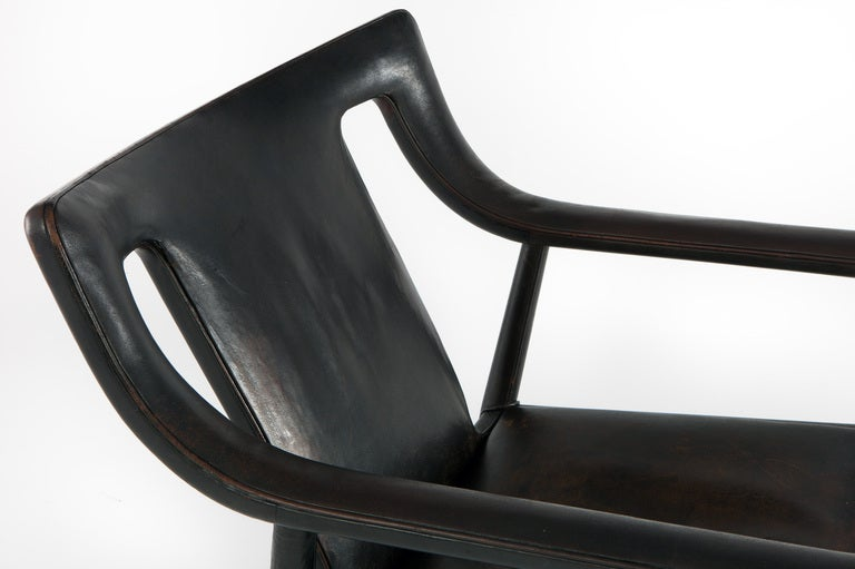 Leather Lounge Chair by Ejner Larsen & A. Bender Madsen For Sale