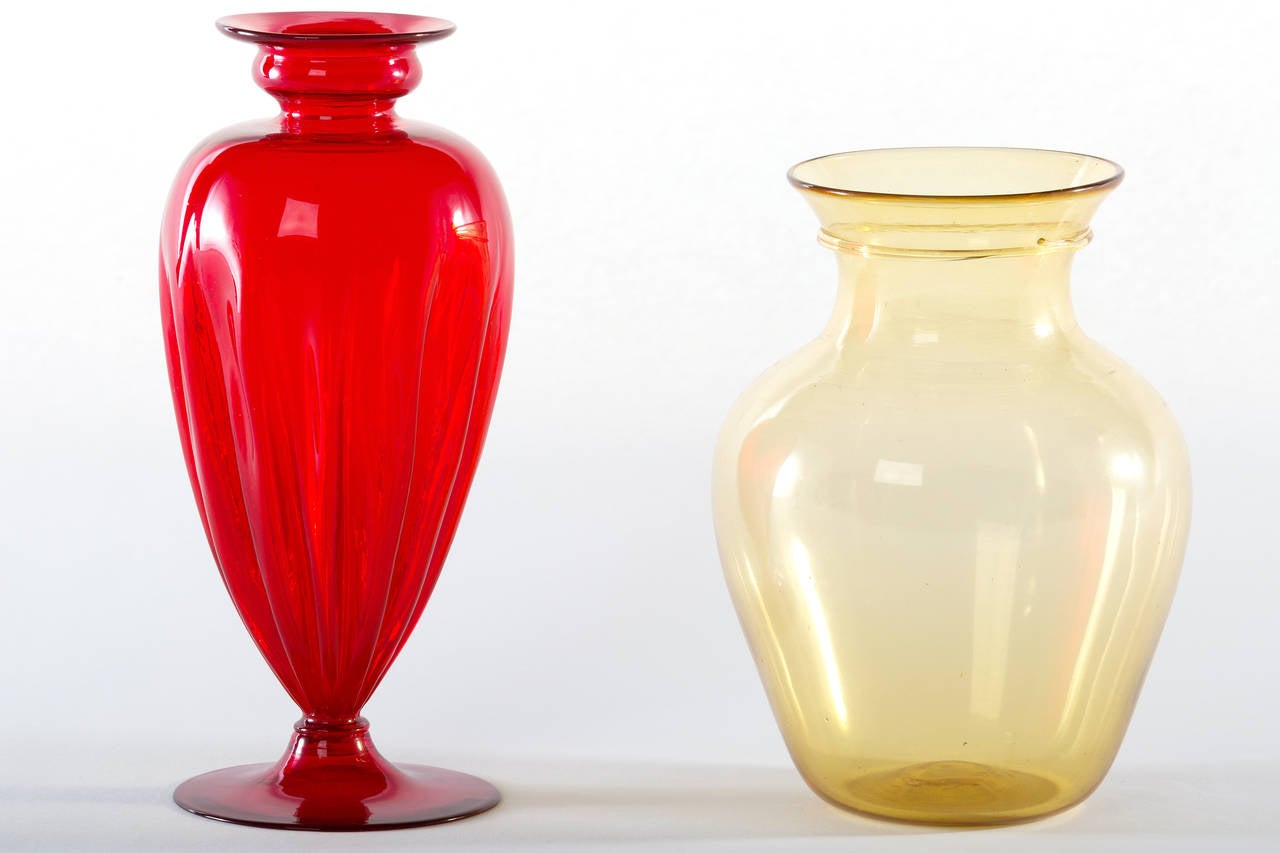 Collection of Ten Early Italian Glass Vases, Venini, 1900-1920 In Excellent Condition For Sale In Pawtucket, RI